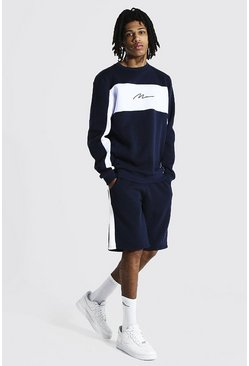 Navy Tall Man Colour Block Short Sweater Tracksuit