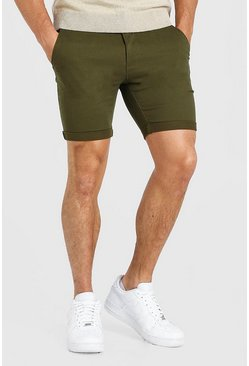 Khaki Super Skinny Fit Chino Short