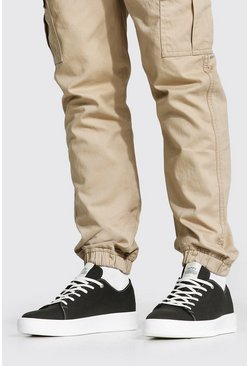 Canvas Branded Trainer, Khaki kaki