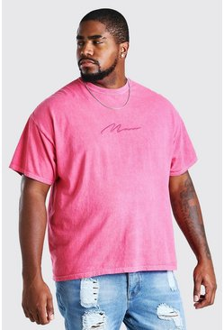 Pink Big And Tall MAN Script Overdyed T-Shirt