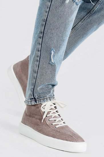 Stone beige Cord Branded High Top