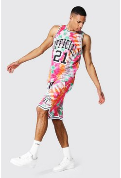 Tall Tie Dye Mesh Basketball Short Set, Pink Розовый