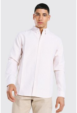 Tan brown Oxford Stripe Ls Regular Shirt