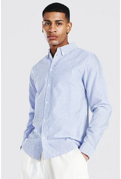 Navy Oxford Stripe Ls Regular Shirt