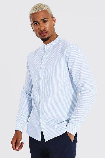 Blue Oxford Stripe Grandad Collar Long Sleeve Shirt