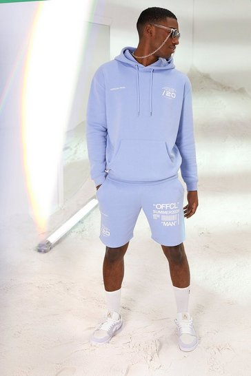 Powder blue Official MAN Print Short Hooded Tracksuit