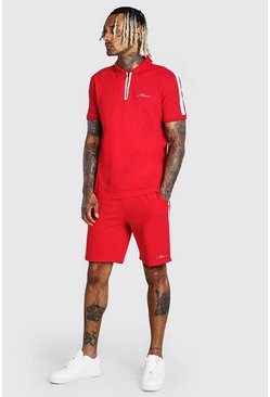 Red MAN Sports Zip Polo And Short Set With Tape