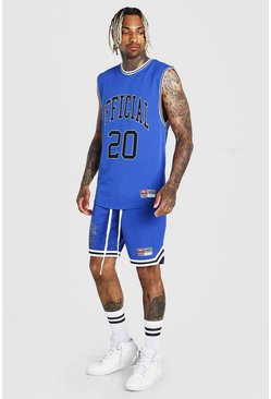 Blue blå MAN Airtex Tank & Basketball Short Set