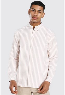 Oxford Stripe Long Sleeve Regular Shirt, Tan Коричневый