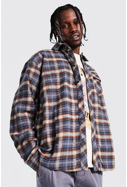 Charcoal grey Oversized Check Shirt