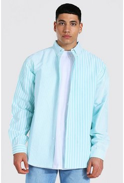 Mint Oxford Stripe Long Sleeve Oversized Shirt