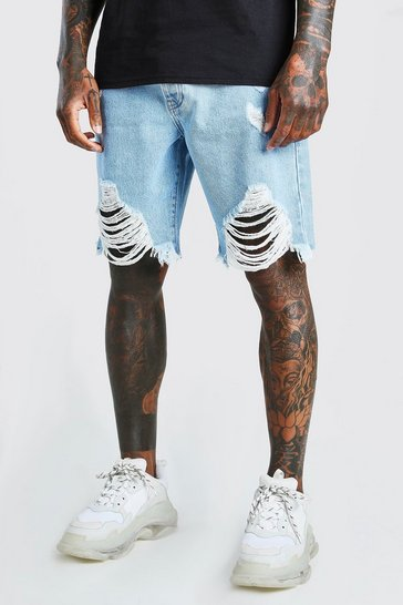 Light blue Loose Fit Destroyed Hem Denim Shorts