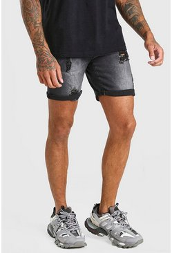 Washed black Skinny Stretch Distressed Denim Short