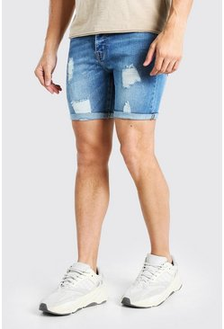 Light blue blue Skinny Stretch Distressed Denim Short