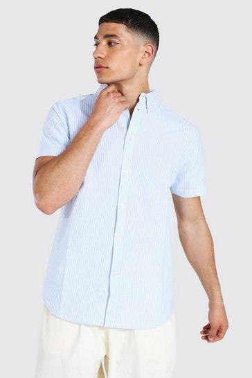 Blue Oxford Stripe Short Sleeve Shirt