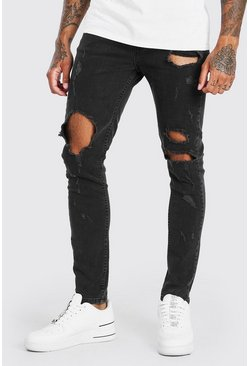 Washed black Super Skinny All Over Ripped Jeans
