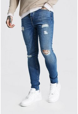 Light blue blue Super Skinny Multi Rip Jeans