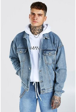 Mid blue blue Oversized Denim Jacket With Abrasions