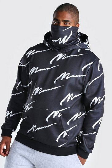 Black Plus Size MAN Script Snood Hoodie