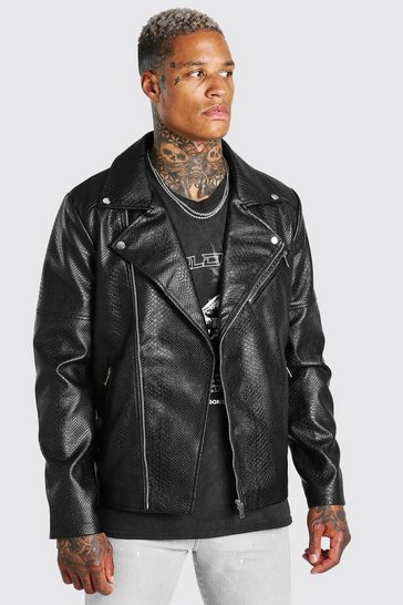 Black Croc Leather Look Biker Jacket