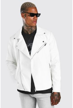 White Croc Leather Look Biker Jacket