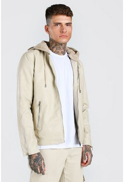Stone beige Leather Look Biker With Jersey Hood