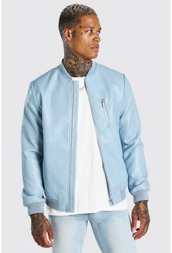 Blue Leather Look Bomber Jacket