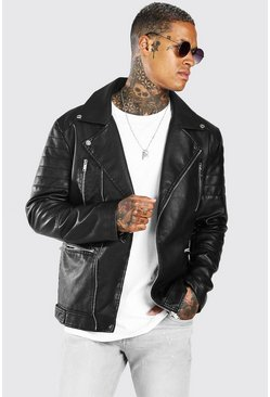 Black Leather Look Back Panel Biker