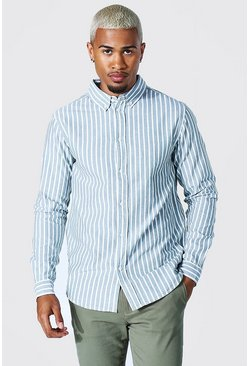 Oxford Stripe Ls Regular Shirt, Khaki kaki