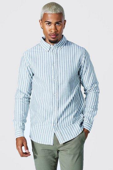 Khaki Oxford Stripe Long Sleeve Regular Shirt