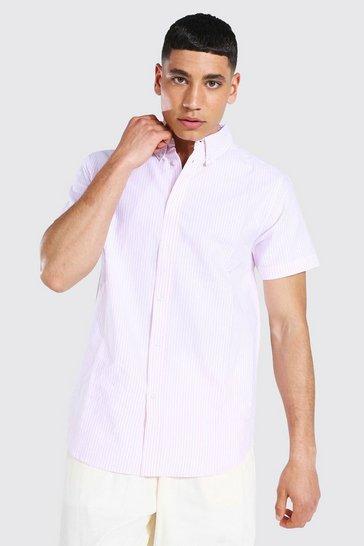 Pink Oxford Stripe Short Sleeve Shirt