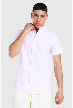 Pink Oxford Stripe Ss Shirt