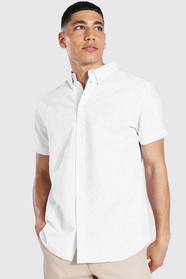 Lilac purple Oxford Stripe Short Sleeve Shirt