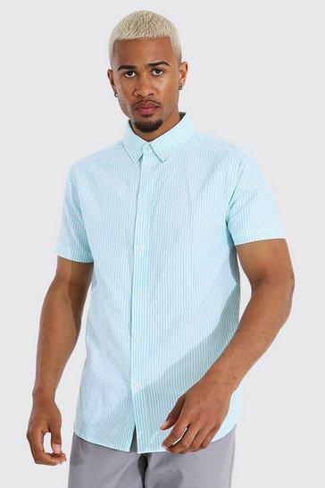 Mint green Oxford Stripe Short Sleeve Shirt