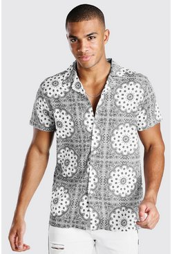 Grey Short Sleeve Revere Collar Bandana Print Shirt