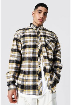 Oversized Check Shirt, Yellow Жёлтый