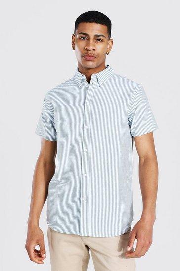 Khaki Oxford Stripe Short Sleeve Shirt