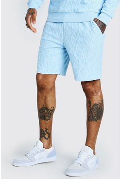 Powder blue blå Mellanlånga shorts med mönster i velour