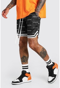 Shorts de Airtex con estampado MAN Official, Negro