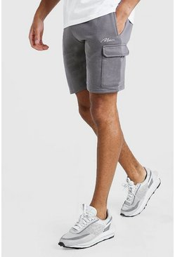 Charcoal grey MAN Signature Cargo Shorts