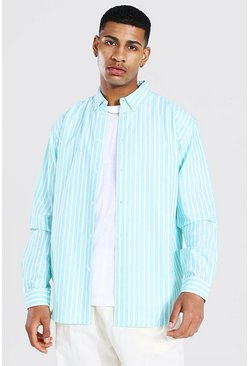 Mint green Oxford Stripe Ls Oversized Shirt