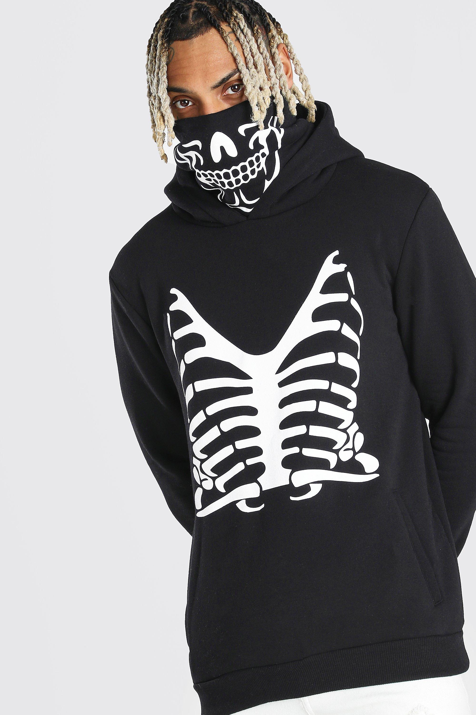 Hoodie med skelettmotiv och snood | boohoo SE