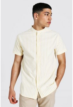 Oxford Stripe Grandad Collar Ss Shirt , Yellow giallo