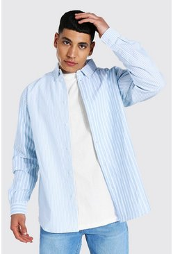 Blue Oxford Stripe Long Sleeve Oversized Shirt