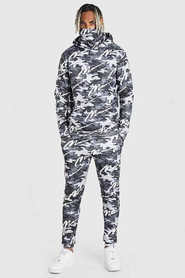 Dark grey grey All Over MAN Camo Snood Tracksuit