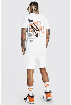 White vit MAN Official T-shirt och shorts med graffititryck