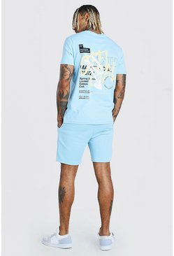 Powder blue blå MAN Official T-shirt och shorts med graffititryck