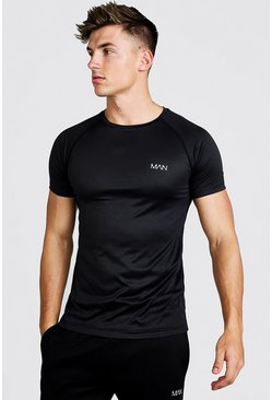 Zwart black Man Active Raglan T-Shirt