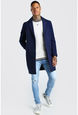Navy marinblå Smart Buttonless Overcoat
