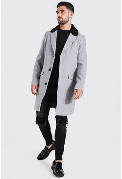 Grey Smart Faux Fur Back Collar Single Breasted Overcoat
